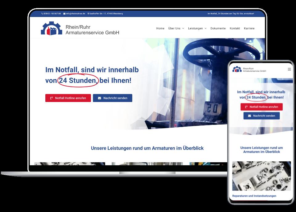 Webdesign Referenz Laptop und Smartphone: Rhein-Ruhr Armaturenservice