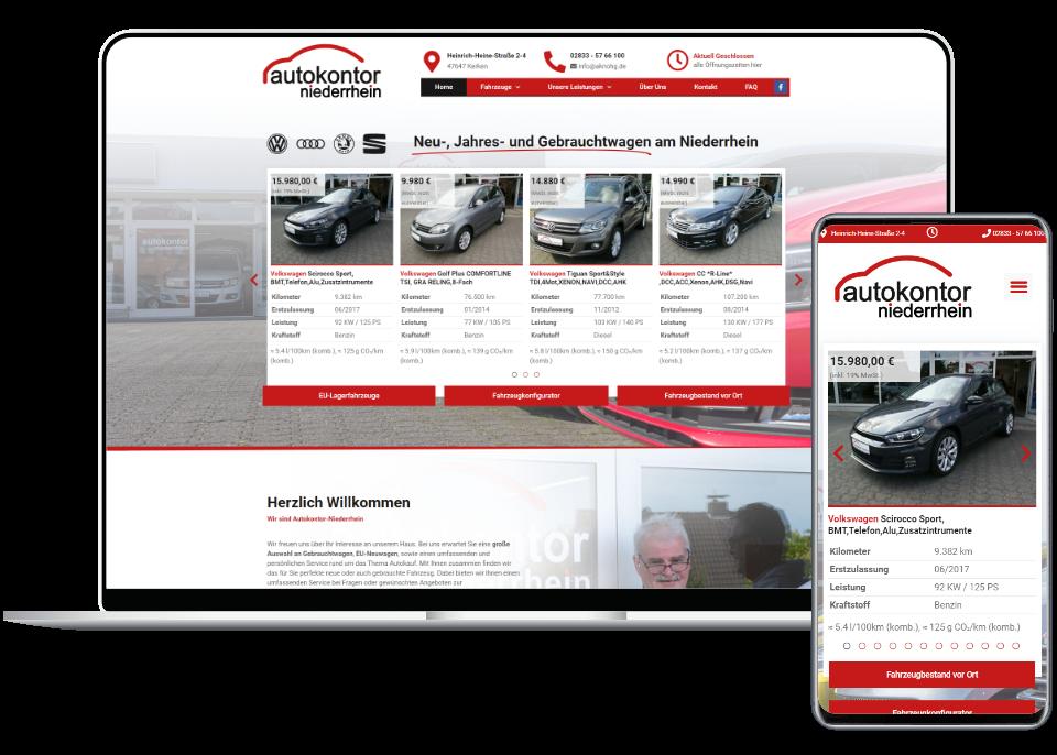 Webdesign Referenz Laptop und Smartphone: Autokontor-Niederrhein