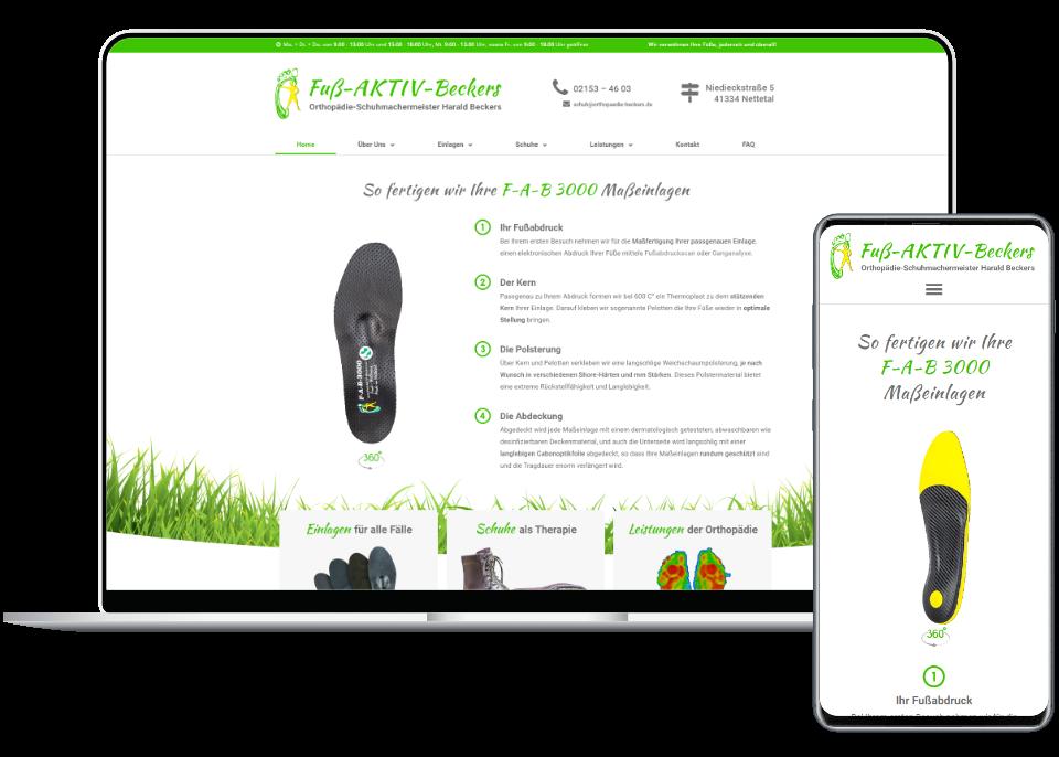 Webdesign Referenz Laptop und Smartphone: Fuß-AKTIV-Beckers