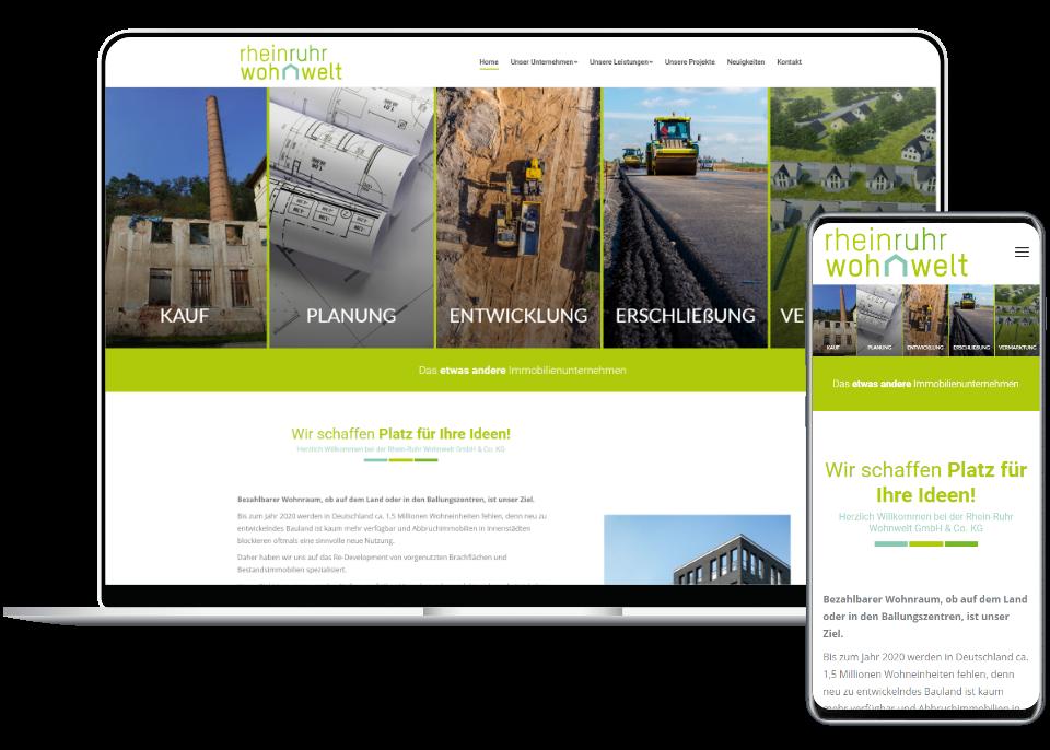 Webdesign Referenz Laptop und Smartphone: Rhein-Ruhr Wohnwelt