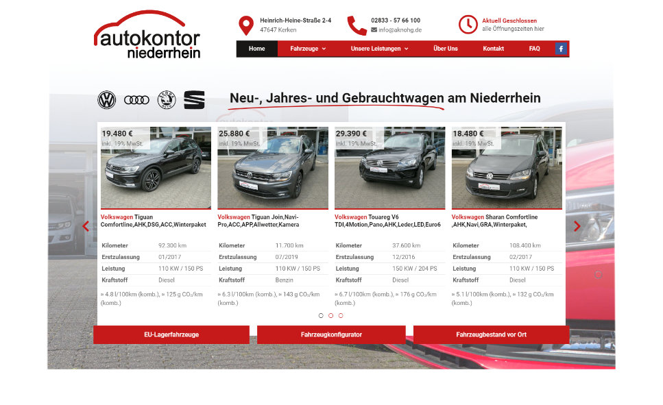 Referenz Webseite: Autokontor-Niederrhein