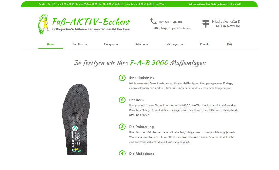 Referenz Webseite: Fuß-AKTIV-Beckers