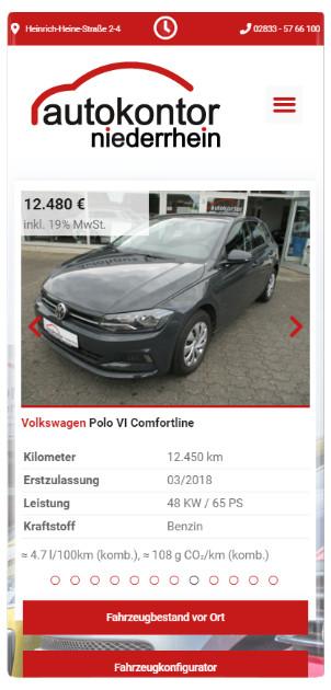 Responsive Webseiten Referenz: Autokontor-Niederrhein