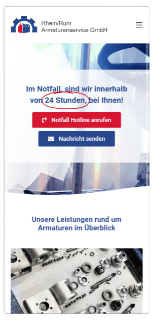 Responsive Webseiten Referenz: Rhein-Ruhr Armaturenservice